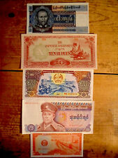 5 diff. Asia vintage paper money 1940's-80's circulated-uncirculated