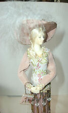 """2001 COLLECTABLE VICTORIAN TASSEL DOLL, FEATHER TRIM HAT, 11"""" TALL, GLASS BEADS"""