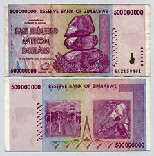 Zimbabwe 500 Million Dollars banknote AA 2008 P82 VF currency bill