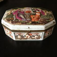 French Porcelain Jewelry Box Casket Hinged Marked FBS