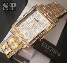 Mens Gold PT Bling Hip Hop Elgin Rectangle CZ Cross Dress Stainless Steel Watch