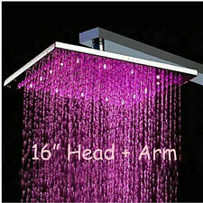 "LED 16"" Chrome Square Rain Shower Head Wall Mounted Shower Arm Brass Sprayer"
