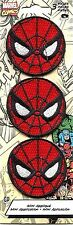 SPIDERMAN round mask (3) MINI EMBROIDERED IRON-ON PATCH SET - pmvl13s spider-man