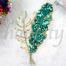 Leaves Sequins Embroidered Applique Patch Birds Pink And Green Feathers Trims