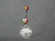 316 SURGICAL STEEL SILVER RASTA ETHIOPIA LION COIN CZ JEWEL 14 GAUGE BELLY RING