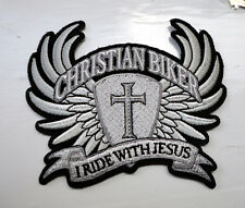P4 Christian Biker Iron on Patch Ride with Jesus Cross Wings
