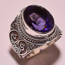 FACETED IOLITE VINTAGE STYLE 925 STERLING SILVER RING SIZE 8 US