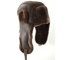NEW REAL SHEEPSKIN LEATHER AVIATOR TRAPPER USHANKA HAT SIZE XL