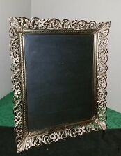 """BEAUTIFUL Vintage Ornate 12""""x10"""" GOLD/CREAM Filigree PICTURE FRAME w/Easel!"""