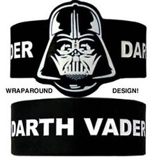 Star Wars Darth Vader Wraparound Design Logo Black PVC Rubber Wristband Licensed