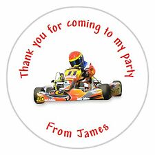 Personalised Go Kart Birthday Stickers Labels Seals