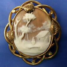 STUNNING ANTIQUE CARVED SHELL CAMEO BROOCH  HOUSE SCENE WITH FEMALE ON BRIDGE