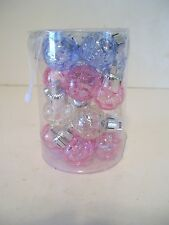 20 PINK BLUE & CLEAR SHATTER RESISTANT .75 INCH CHRISTMAS ORNAMENT DECORATION