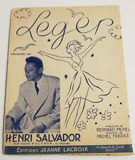 Rare partition vintage sheet music HENRI SALVADOR : Léger * 50's