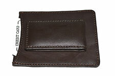 MAGNETIC MONEY CLIP WITH  PLAIN BACK AND TOP CARD POCKET BROWN GENUINE LEATHER