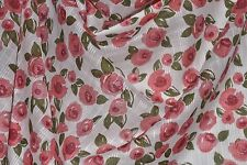 "Rose Floral Print Novelty Weave 100% Cotton Lawn 55"" Wide Fabric by the Yard"