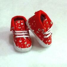 Athletic Baby Girl Red Faux Leather High Top Shoe with Laces In Size 12-18 Mths