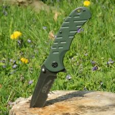 ARMY Spring Assisted Open GREEN G10 Tactical Folding Serrated Pocket Knife Blade