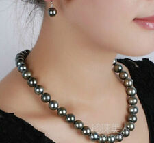 stunning 9-10 MM NATURAL TAHITIAN BLACK PEARL NECKLACE 18'' 14K clasp
