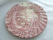 "Transferware Myott ""The Hunter"" Pink Salad Plate"
