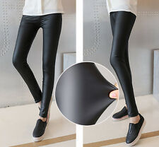 Sexy Fashion Black Faux Leather Stretch High Waisted Pencil Pants Slim Leggings