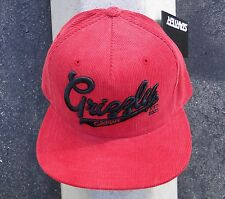 GRIZZLY GRIPTAPE X SUPPLY CO. STADIUM SCRIPT CORDUROY RED SNAPBACK HAT