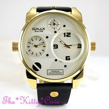 OMAX Gold Plt Steel Seiko Movt Gents World Multi Zone Triple Time Watch N004G62A