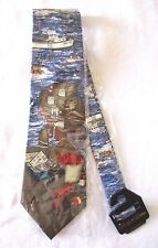 Rivetz of Boston Lighthouse Lobster Fisherman Silk Neck Tie New
