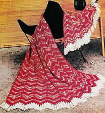 INTERESTING Chevron Tweed Afghan/Crochet Pattern Instructions