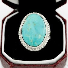 Antique Vintage Sterling Silver Native Pawn Navajo Gleeson Turquoise Ring S 4.75