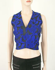 Lucy Paris Blue Brocade Top V Neck - Bloomingdale's Exclusive M $48 8998 BM9