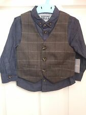 BNWT Baby Boys Toddler 2pc Outfit Set Smart Waistcoat Shirt Denim 12-18 18-24m B