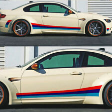 1 pair tricolor Racing stripes car sticker auto side skirt decal emblem for BMW