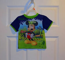 BABY TODDLER BOYS BLUE LIME DISNEY MICKEY MOUSE BUGS SLEEPWEAR PJ SHIRT TOP 2 2T