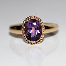 Oval Amethyst 9ct Yellow Gold ring size L ~ 5 3/4