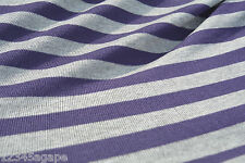 B44 COTTON BLEND FINE SINGLE JERSEY PURPLE &LIGHT GREY MARL STRIPE MADE IN ITALY