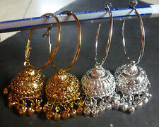 Indian Gold Plated 2 pairs Ring Jhumki Party Fashion Ring Jhumka Earrings Set 24