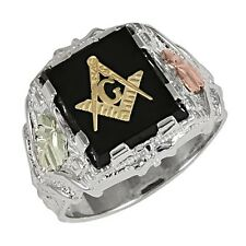 Black Hills Gold 12K Gold on Sterling Silver Masonic Ring with Onyx Size 9