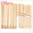 100Pcs Cuticle Pusher Remover Pedicure Manicure Tool Nail Art Orange Wood Stick