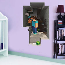 Minecraft Wall Cling Decals Sticker Vinyl Decor 3D Toy Art Wall Room Steve Man