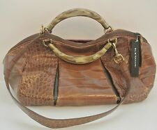 Tan Croc-embossed Leather ELIE TAHARI Satchel Handbag, M, 9x15x5 in,16 in drop