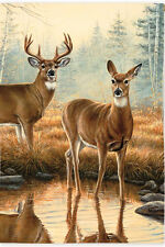 """MORNING REFLECTIONS DEER REFLECTION IN WATER FALL SMALL BANNER FLAG 12.5""""x18"""""""