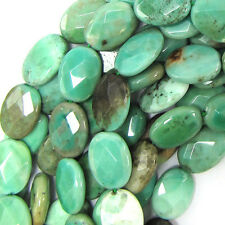 "13x18mm faceted green chrysoprase flat oval beads 15.5"" strand"