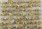 Fashion wholesale Mixed Lots 50pcs crystal rhinestone golden plated rings