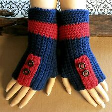 Fingerless Gloves Crochet Wool Wrist Warmers Buckle in Blue Red Football