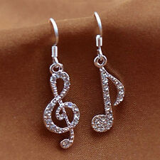 Personality Trendy Music Notes Clear Crystal Silver Dangle Party Earrings  CC
