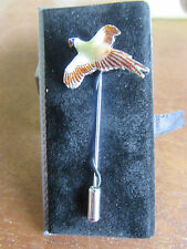 Country theme Pheasant stick pin Rhodium with enamel. suitable for tie or lapel.