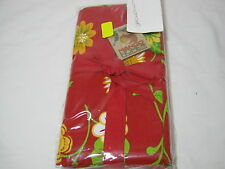 New Mango Home Hand Woven Textile Floral Napkins Set of 4  Arbor Print - Red
