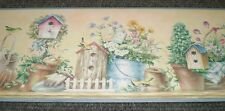Country Multi-Color Flowers & Birdhouses on Yellow Border by Brewster B55318M