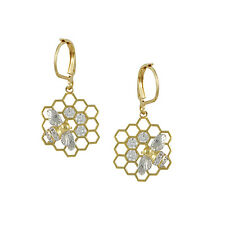 Art Deco Honeycomb With Bee + Cubic Zirconia GEP Lever Back Dangle Earrings